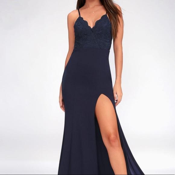 Lulu's Dresses & Skirts - NWT Navy Blue Lace Maxi Dress